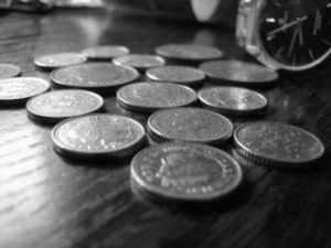 coins on a table