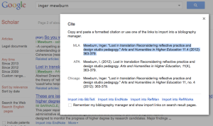 Screen shot showing how Google Scholar can format citations.