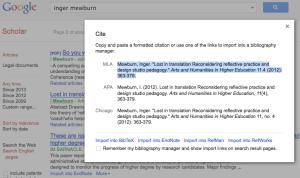 Screen shot showing how Google Scholar can format citations.