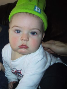 Thesis Whisperer Jnr, aged 6 months - and grumpy :-)