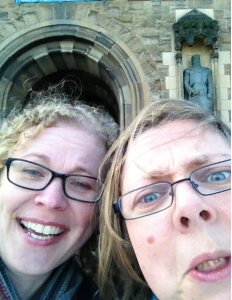 @thefellowette (left) and I squeezing a visit to Edinburgh Castle in before a research nerd conference in2013. If you're wondering why the faces, it was REALLY COLD that day ok? :-)