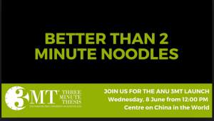 Rebranding of the ANU three minute thesis for 2016 by Victoria Firth-Smith